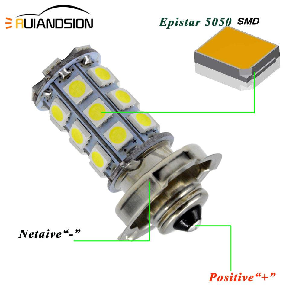 1PC P26S 27SMD White Motorcycle Headlight 5050 LED Fog Bulbs Motor Bike Light Motorcycle Replacement Accessories 6V 12V 10-30V image