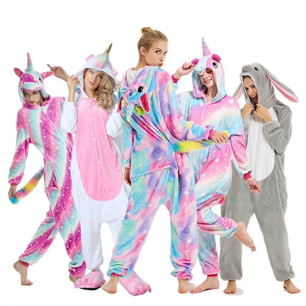 Adults Animal Women Pajamas Flannel Sleepwear Cosplay Winter Unisex Unicornio Stitch Cartoon Unicorn Pajamas Sets
