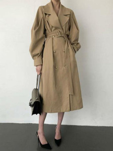 Image 5 - Elegant Windbreaker Women Slim With Belt Fashion Khaki Outerwear New Spring Autumn Double breasted Turn Down Collar Trench Coat