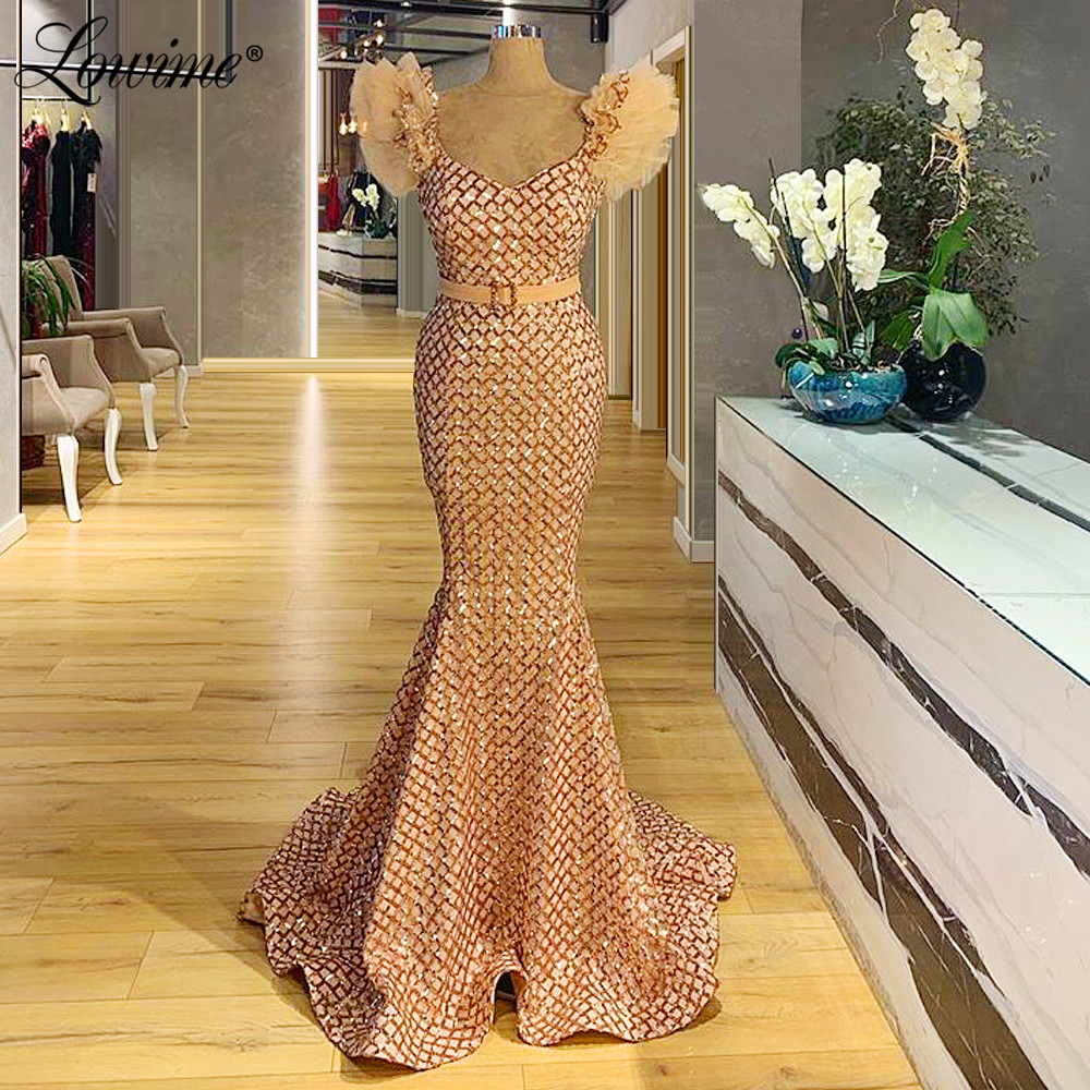 African Party Dress Capped Sleeves Mermaid Arabic Dubai Evening Gown 2020 Turkish Sequined Robe De Soiree Customize Prom Dresses