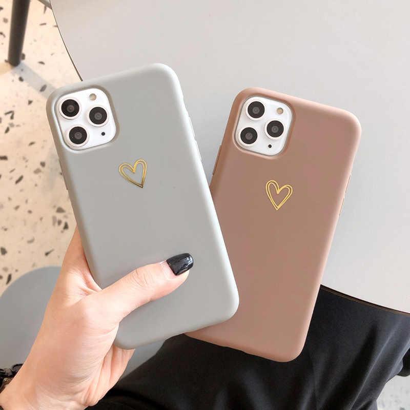 Ponsel Case untuk iPhone 7 Plus 11 Pro X XR X Max 6 6S Fashion Cute Cartoon Emas cinta Hati Soft Cover