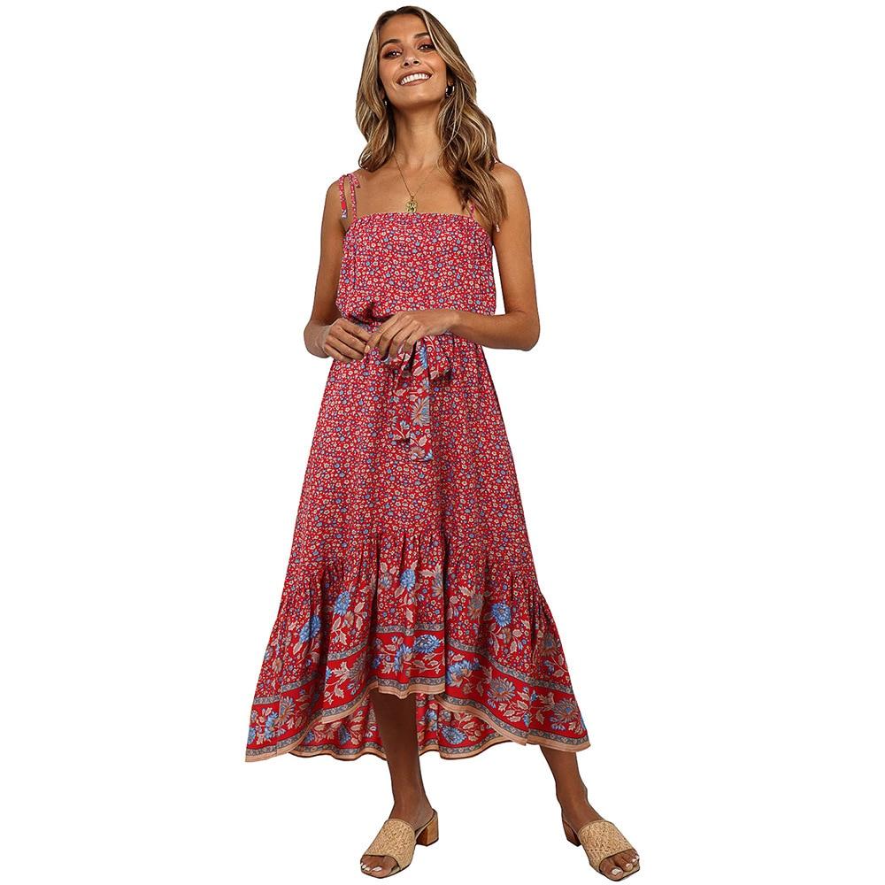14 Vintage Lange Kleid Frauen Boho Druck Sleeveless Sommer Vestidos Damen  Slip Maxi Kleider Weibliche 14 Frühling Neue Mode X14