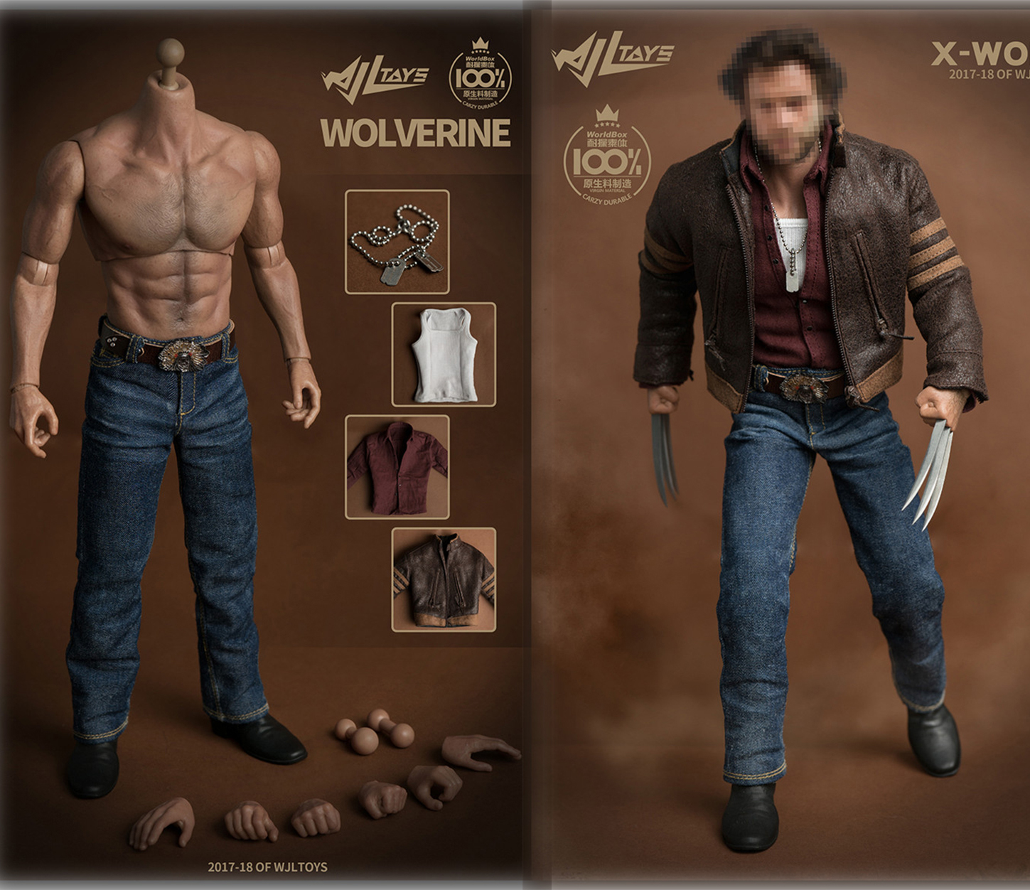 1:6 Male Wide Shoulder Muscular Wolver  Body Wolverine Logan 1/6 Figure 31CM with Jackman Clothes Set Fit Head Sculpt