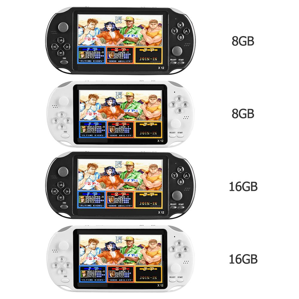 X12 5.1 inch Handheld Game Video Player Game Consoles 8G/16GB Optional with Double Rocker Built-in 2500 Games Support TF Card