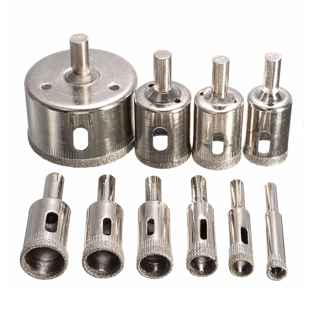10pcs/Set Glass Hole Opener Diamond Drill Bits Ceramics Floor Tile Hole Opening Hand Tools Accessories 3-50mm