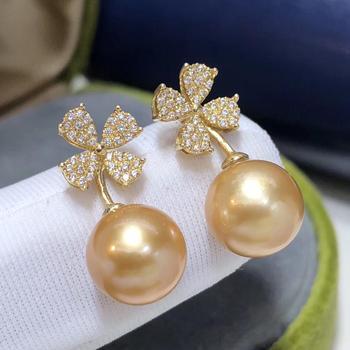 Fine Jewelry 1103 Pure 18 K Gold Natural Ocean Golden Pearls 8-9mm Stud Earrings for Women Fine Pearl Earrings 5