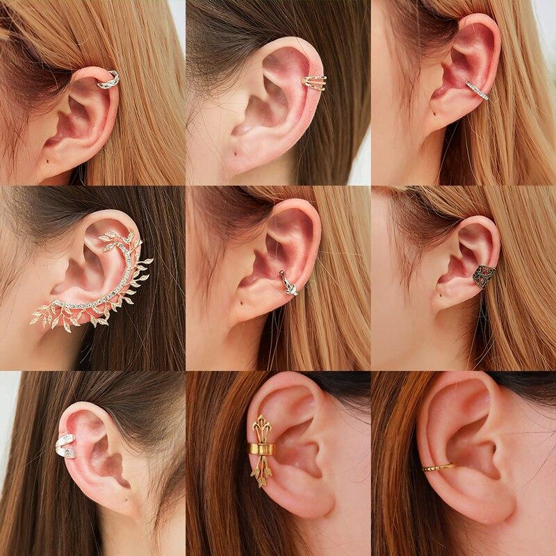 VAGZEB Fashion No Pierced Ear Clip Cuff Wrap Earrings Leaf Feather Pendant Non-piercing Clip Earrings For Women Party Statement