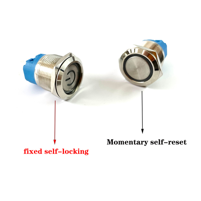 12/16/19/22mm Waterproof Metal Push Button Switch LED Light Momentary Latching Car Engine Power Switch 5V 12V 24V 220V Red Blue 3