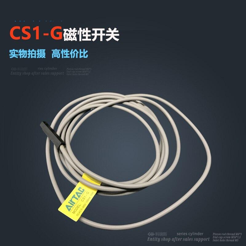 10 pièces livraison gratuite CS1-G rouge LED cylindre pneumatique capteur magnétique Reed interrupteur, DC AC 5 V-240 V