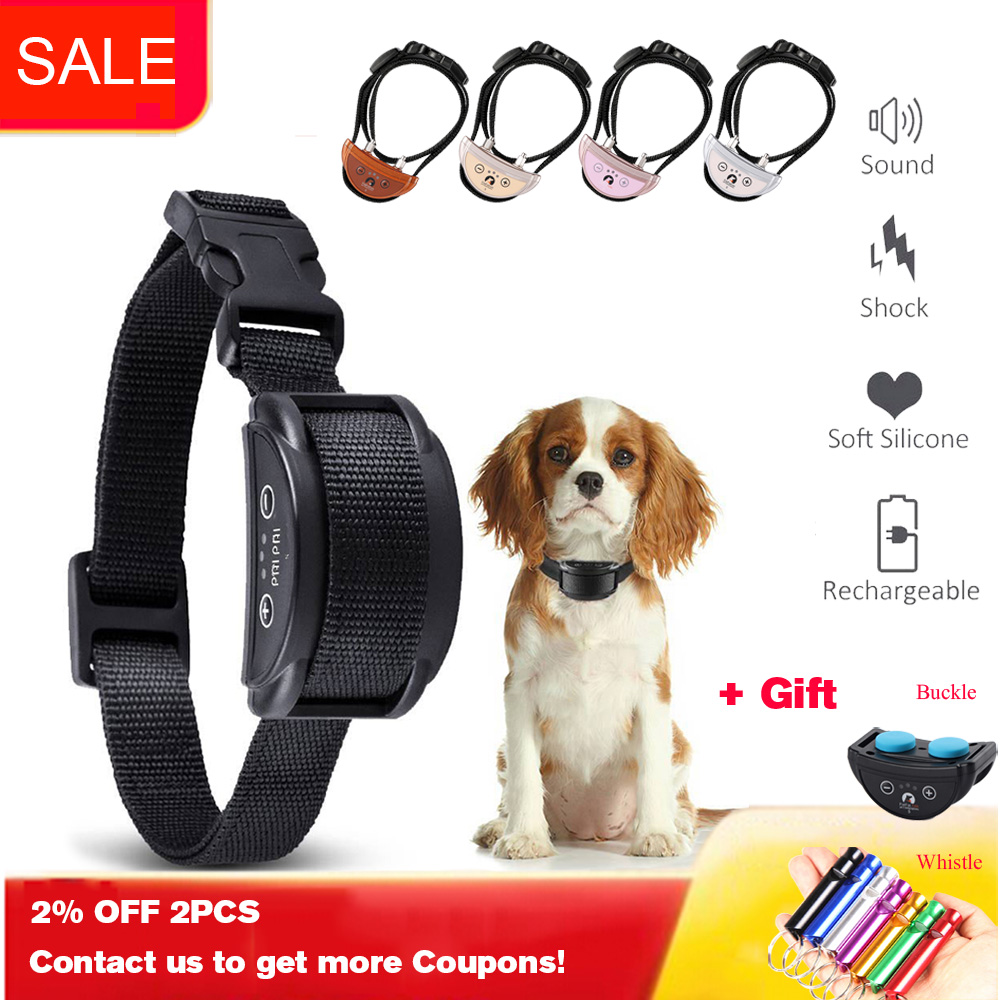 7 Levels Adjustable Electric Dog Bark Shock Collar Humane Anti Abrasion Bark Collar Rechargeable For Small Medium Size Dogs