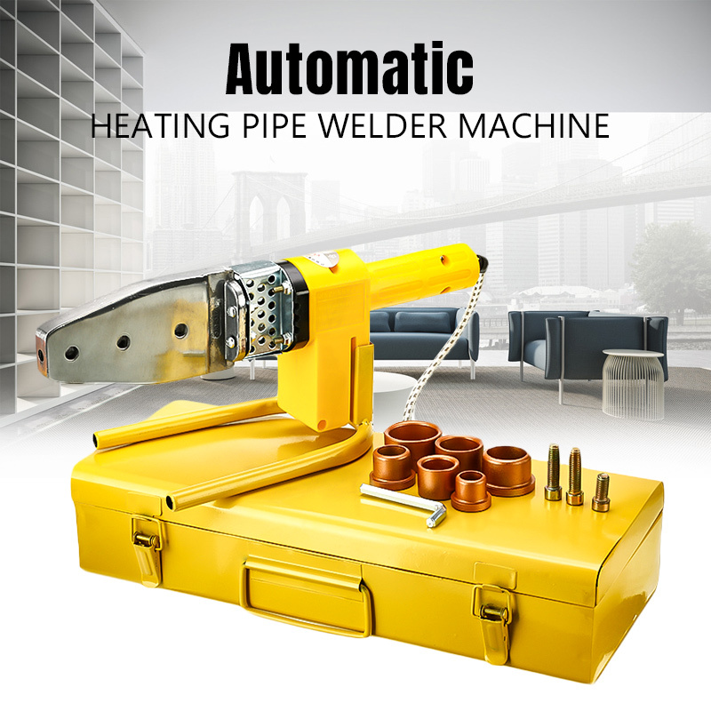 8Pcs 220V Automatic Electric Welding Tool Heating PPR PE PP Tube Welded Pipe Welding Machine+ Heads+ Stand+Box Yellow