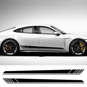 Nadwozie winylowe naklejki sportowe wyścigi długie Amg uniwersalne DIY stylizacja samochodów naklejki pasek na 2 szt. 220x14cm