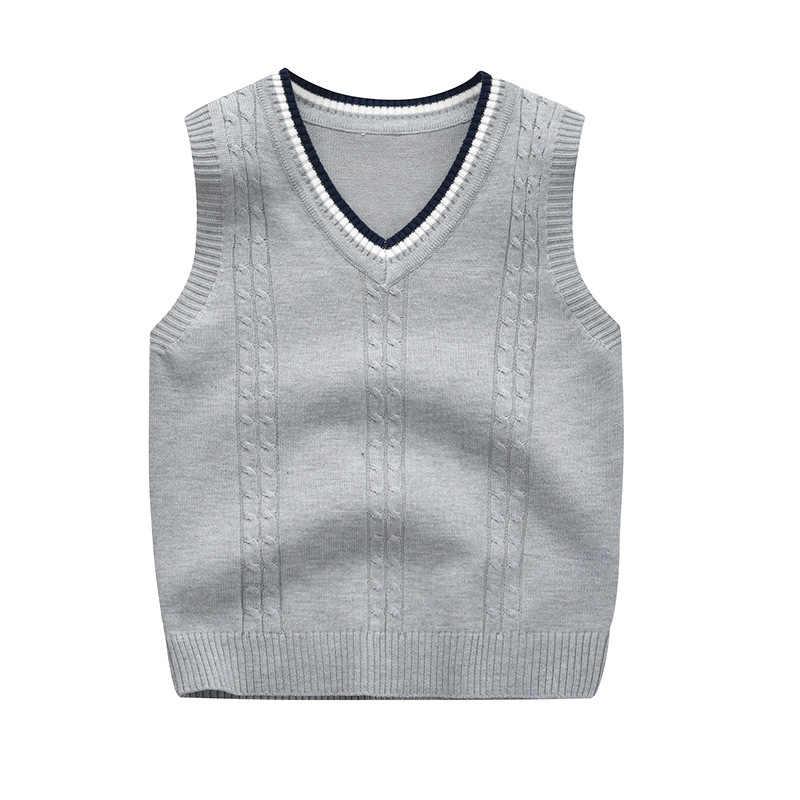 秋 & 冬の新キッズベストセーター少年と少女ニットベスト子供のための V ネックカジュアル子供ノースリーブセーター