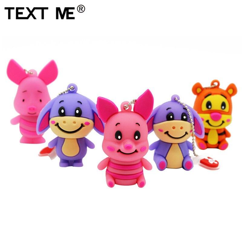 TEXT ME 64GB  4GB 8GB 16GB 32GB Cute Mini Pig Cub Tiger Model Usb Flash Drive Usb 2.0  Pendrive