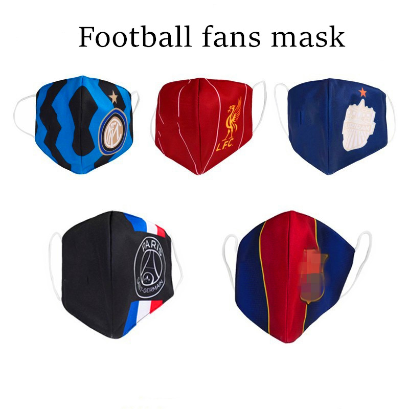Football Soccer Ball Fan Mask 12 Teams Cheerleaders Liverpool Barcelona Madrid Fan Dustproof Mask Brazil World Cup Mask