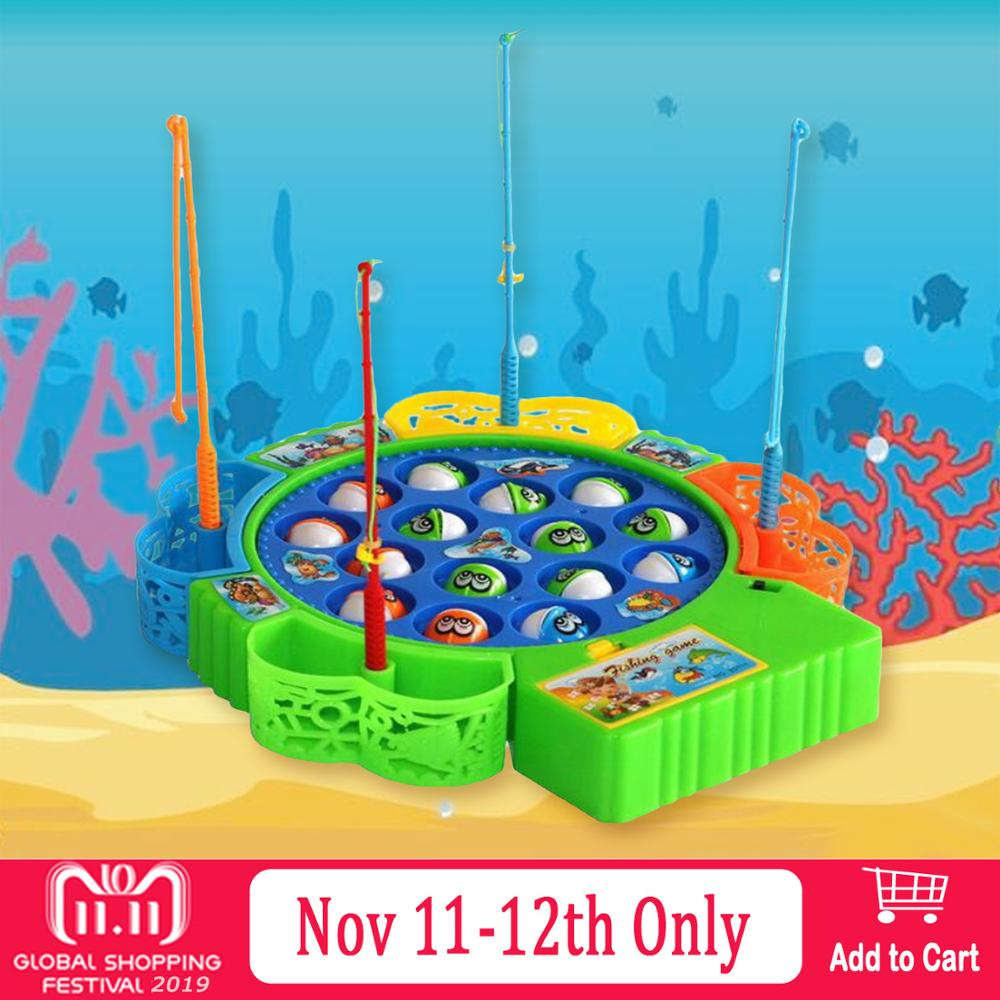 19PCS Kids Funny Montessori Cartoon Electric Rotating Fishing Game Toy Fish Rods Plate Clip Beads Fishing Catching Fish Toys