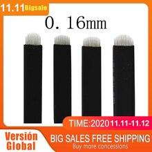50 Uds NANO negro 0,16mm forma de U 12U 14U 16U 18U agujas de Microblading para suministros de maquillaje permanente hojas de cejas manuales laminas tebore micropigmentação