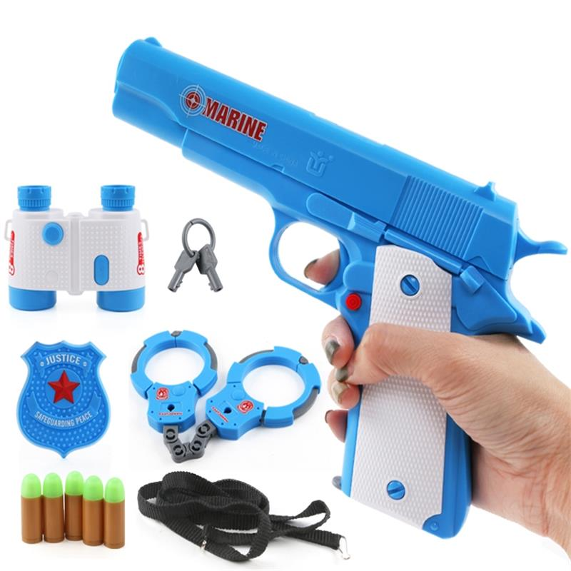 11pcs/set Police Suit Children Pistol With Plastic Handcuffs Telescope Badge Toy Soft Bullet Gun Toys Creative Role Play Toy