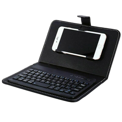 Nowa gorąca Mini przenośna bezprzewodowa klawiatura Bluetooth ze skórzanym etui na smartfona