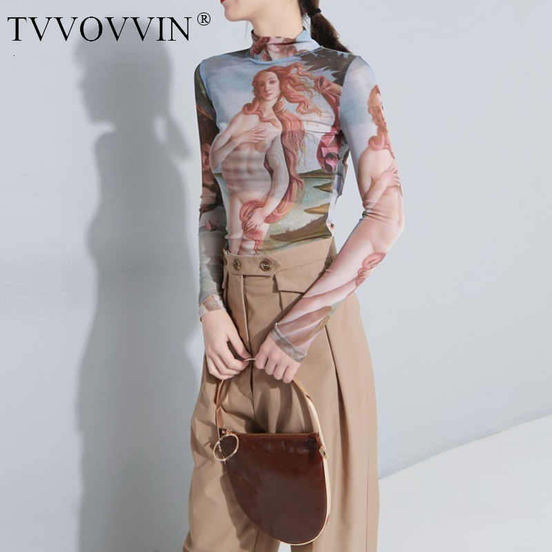 TVVOVVIN 2019 New Tattoo Half Perspective Vintage Slim Sexy Retro T-shirt Tops Harajuku Summer Top Korean Camiseta Mujer H827