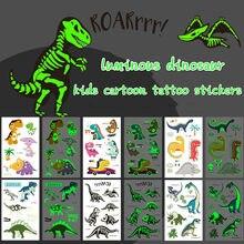 Verão novo estilo luminoso dinossauro crianças tatuagem adesivos diversão dos desenhos animados brilhantes adesivos temporária criança sweatproof decoração do corpo