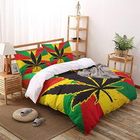 Bandeira folhas colorido capa de edredão conjunto 2/3/4 pçs conjunto cama folha fronhas capa conjunto
