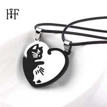 1 pair Couples Jewelry Necklaces splice Cat Necklace Stainless Steel love heart Round Yin Yang pendant necklace Lover Jewelry(China)