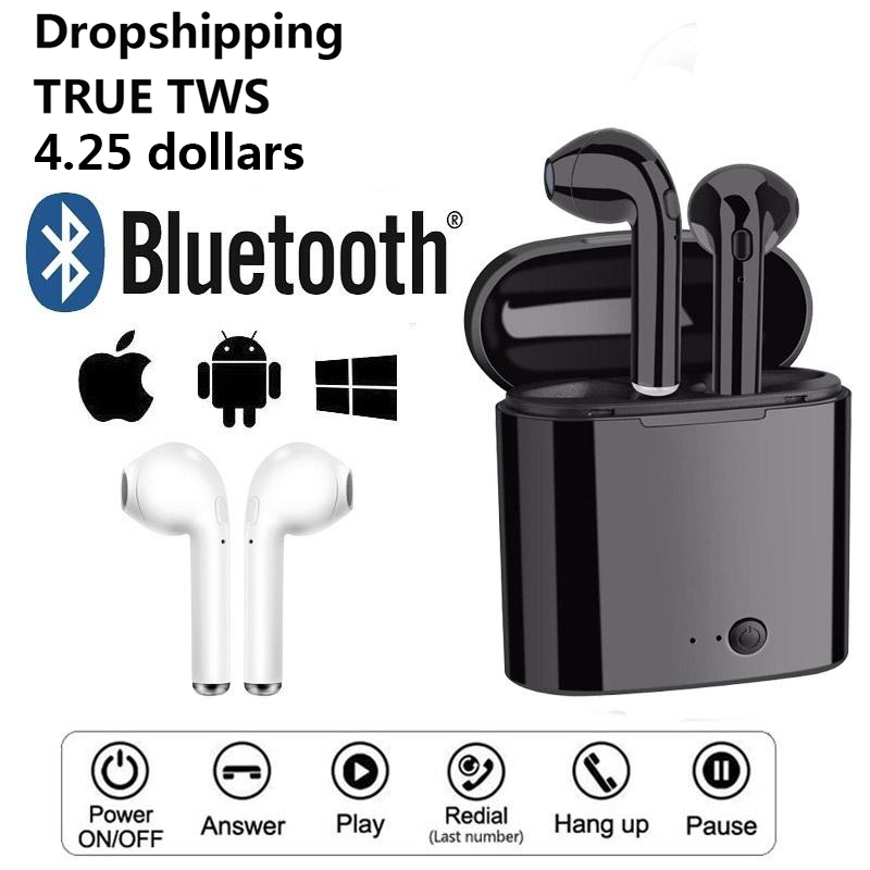 I7s Tws Wireless Earphone Bass Stereo Bluetooth Earphone Dropshipping EarbudsNoise Reduction Tap Control Headphones For Iphone