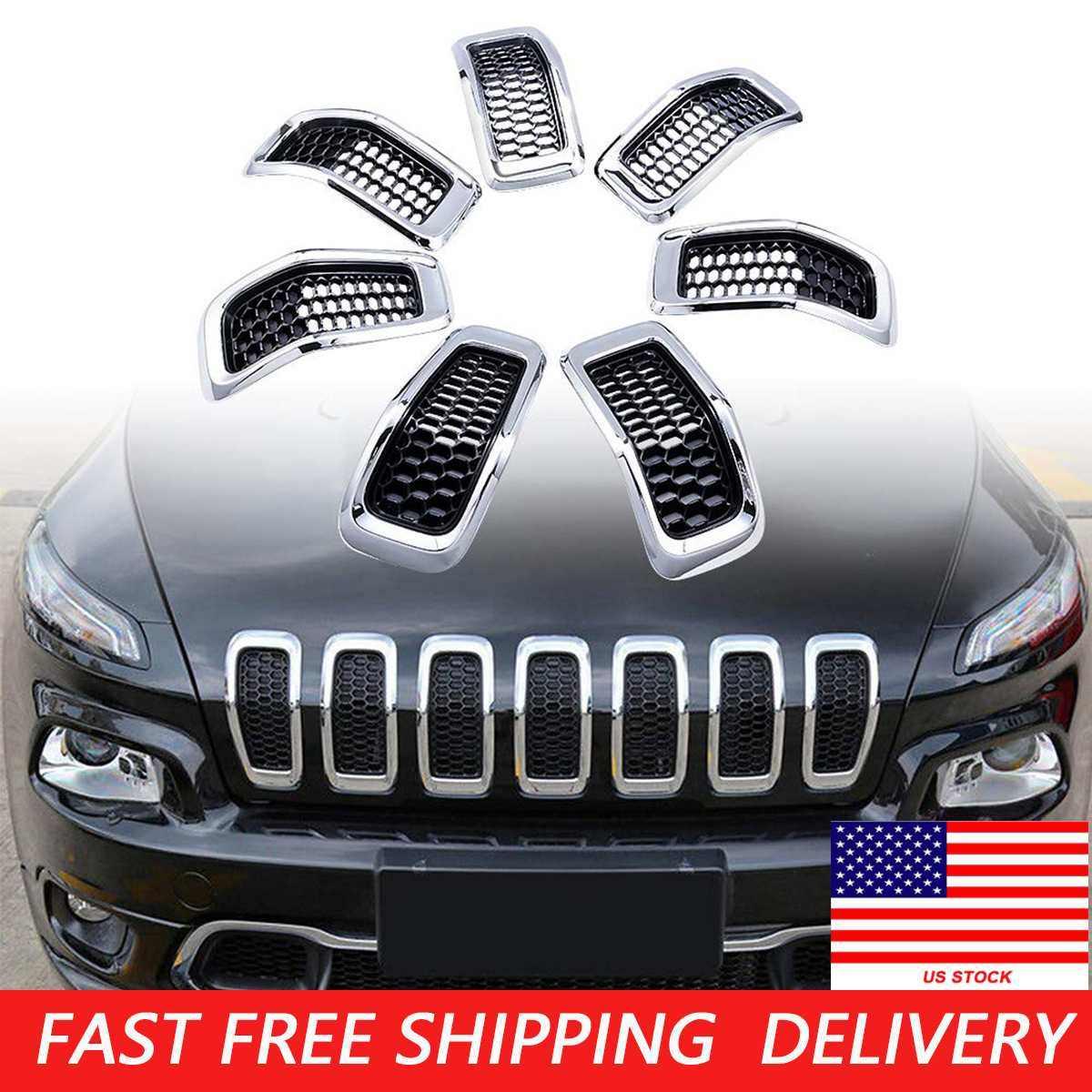 Auto Grill Front Schwarz Kühlergrill 7x Abdeckleiste Ring für Jeep Cherokee 19