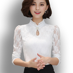 2020 Women's New Chiffon Lace Blouses Tops Fiminina Blusa Long Puff Sleeved Shirt Ruffled Button Tops Plus Size 6XL