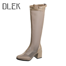 DLEK Women Knee High Boots High Square Heel Breathable Fashion Mesh Zipper Boots Sexy Hollow Out Buckle Laies Shoes