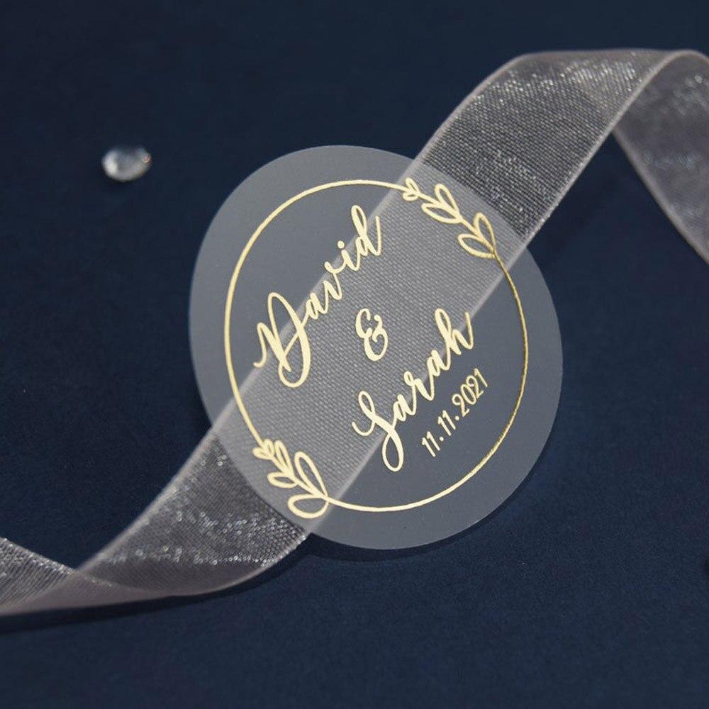 100 шт., персонализированные блестящие свадебные наклейки из золотой фольги, сувенирные этикетки, день рождения, индивидуальные, прозрачные ...
