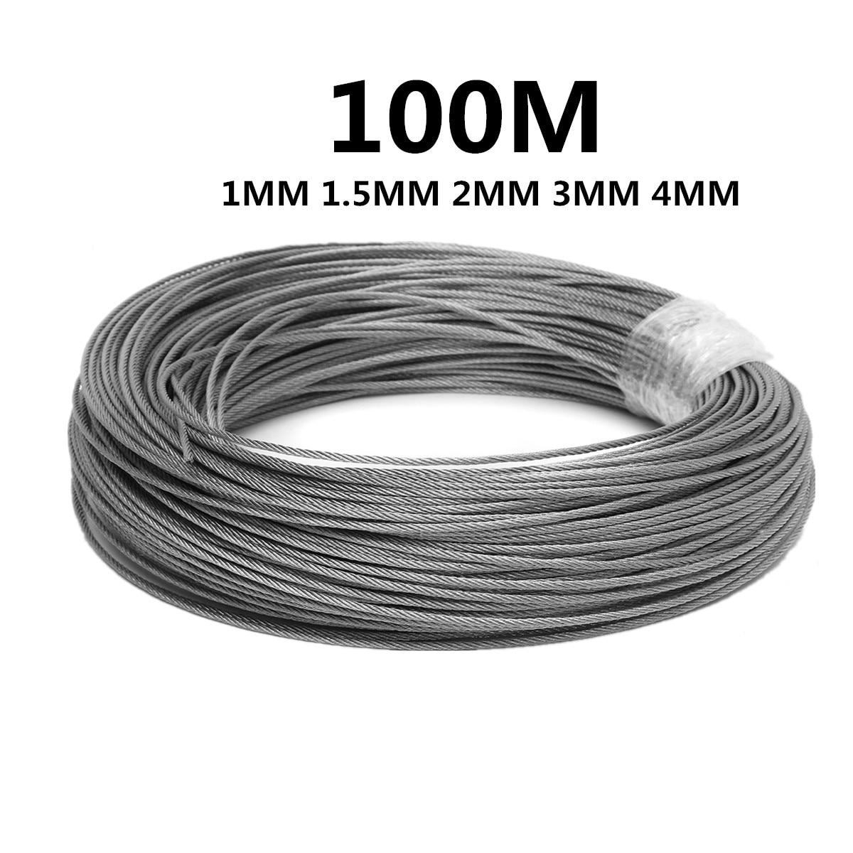 100M 50M304 스테인레스 스틸 1mm 1.5mm 2mm 직경 스틸 와이어 베어 로프 리프팅 케이블 라인 빨랫줄 Rustproof 7X7