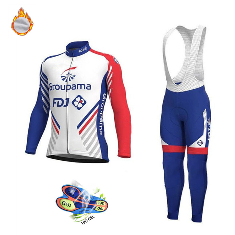2020 FDJ Pro Team Winter Thermal Fleece Long Sleeve Jersey Suit Bib Pants Mtb Cycling Clothes Men Outdoor Riding Bike Clothing