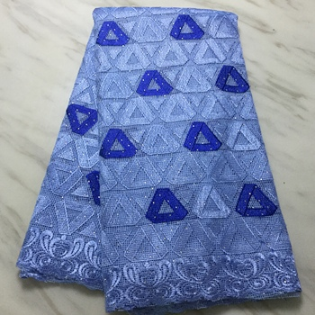 New Designs sky blue African French Lace Fabric High Quality Nigeria French Net Lace fabric With Stones For Women 5 yards FP1123