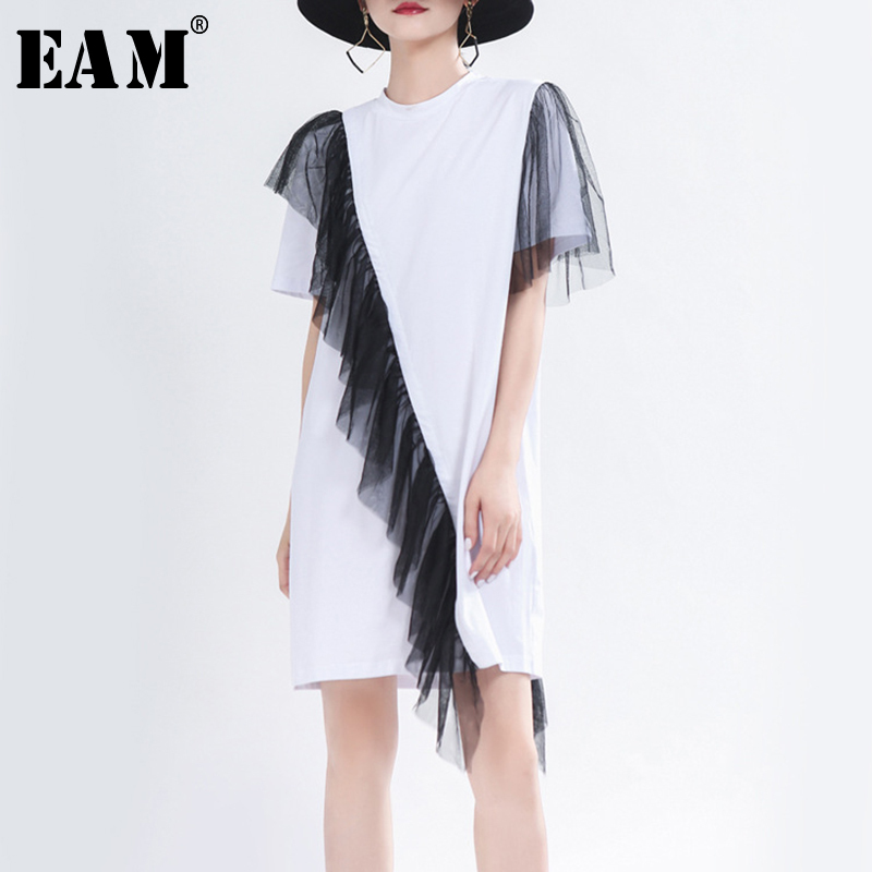 [EAM] Women White Black Mesh Ruffles Split Dress New Round Neck Short Sleeve Loose Fit Fashion Tide Spring Summer 2020 1T755