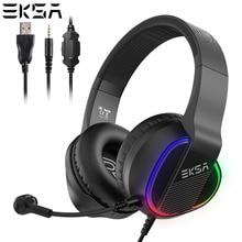 EKSA E400 משחקי אוזניות גיימר 3D סטריאו צליל RGB אורות Wired אוזניות עם מיקרופון עבור מחשב/PS4/Xbox אחד/Nintendo/טלפון