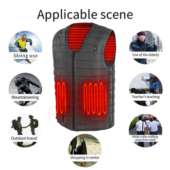 3 Gears Adjustable Winter Smart Heated Cotton Vest USB Heating Jacket Outdoor Camping Fishing Skiing Hunting Warm Clothes 3