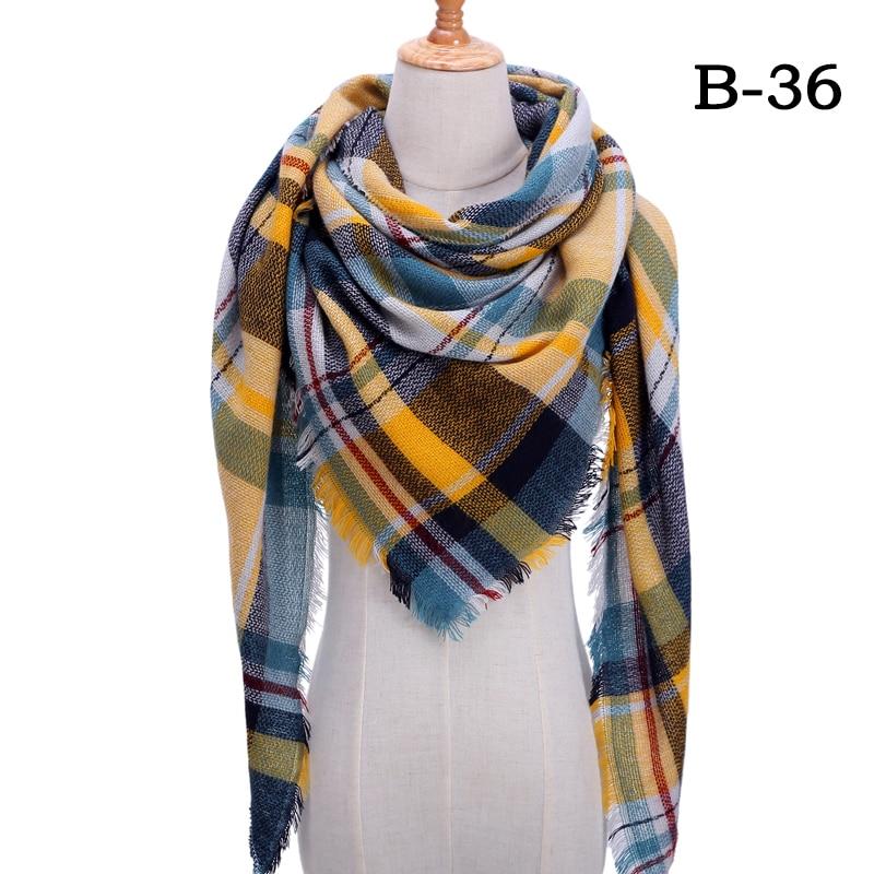 Женский зимний шарф в ретро стиле, кашемировые вязаные пашмины шали, женские мягкие треугольные шарфы, бандана, теплое одеяло, новинка - Цвет: bb36