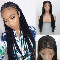 Charisma 13X6 Box Braided Wig Middle Part Synthetic Lace Front Wig High Temperature Fiber Hair Braids Wigs for Black Women