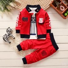 BibiCola/ г. Весенне-осенний комплект одежды для мальчиков; Детский Повседневный хлопковый комплект одежды из 3 предметов; комплекты спортивной одежды для мальчиков