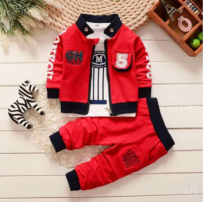 BibiCola Spring Autumn 2020 New Boys Clothing Set Children Kids Casual Cotton 3pcs Clothes Suit Boys Sportswear Sets Clothing