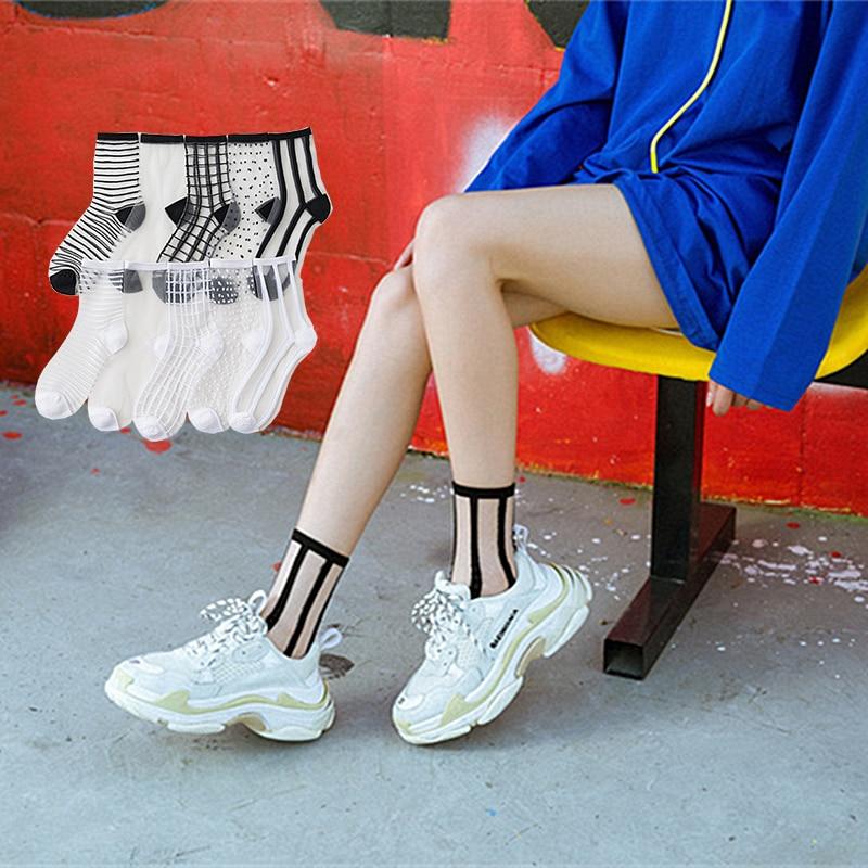 Polka Dot Striped Sheer Fashion Socks Women Best Girl Mesh Black White Sheer Tulle Lace Dress Socks Target Cute Crew Elite Socks
