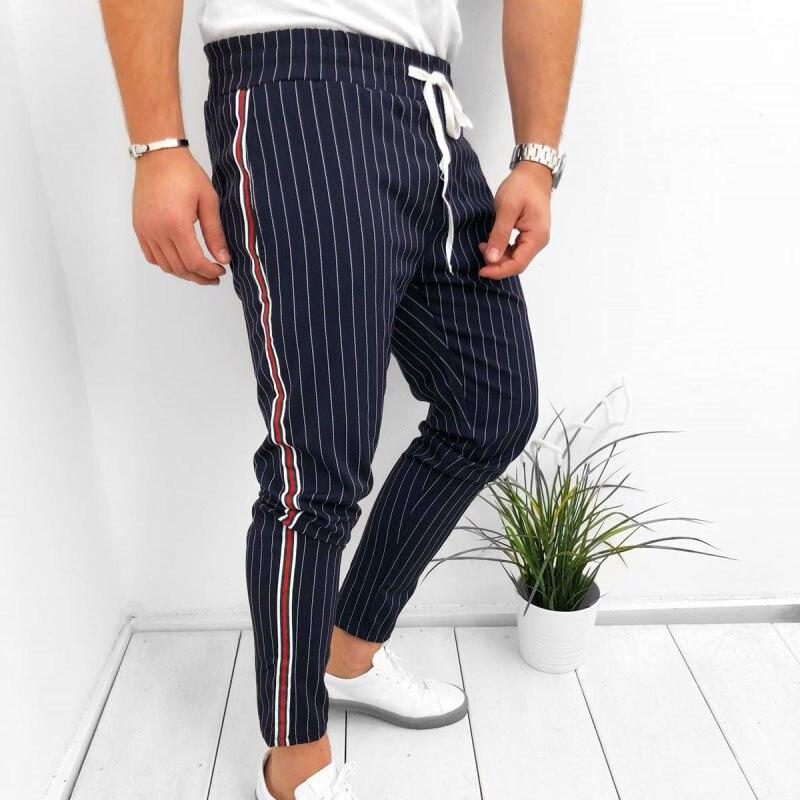 Hot Sale Men Striped Casual Pants Fashion Trousers Adjustable Drawstring Sweat Pants Trousers CXZ 1