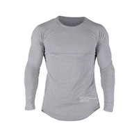 Hot Sale New spring high elastic cotton t shirts men's long sleeve o neck tight t shirt free CHINA POST shipping Asia