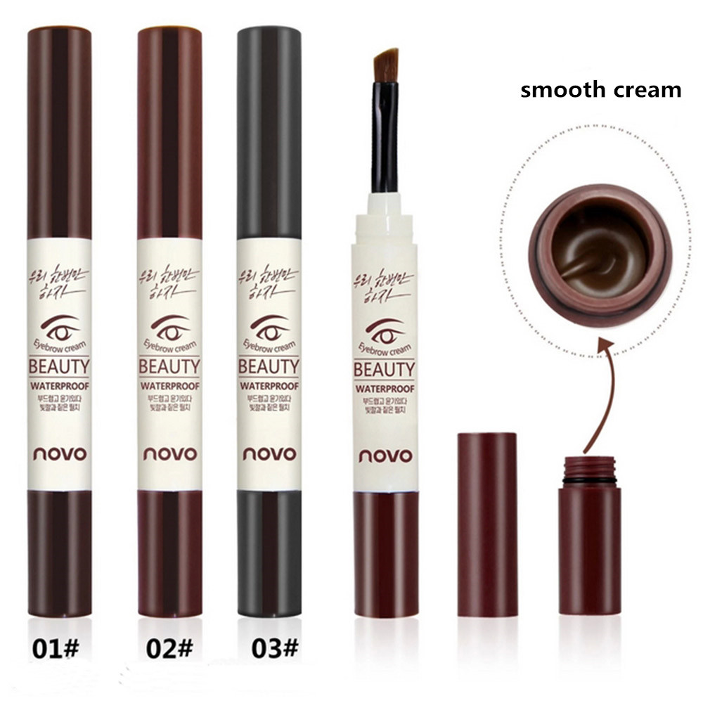 NOVO Natural Makeup 3 Color Eyebrow Pencil Pomade Gel Makeup Coffee Black Brown Paint Cream Wax Waterproof Eyebrow Tint Wax Dye in Eyebrow Enhancers from Beauty Health
