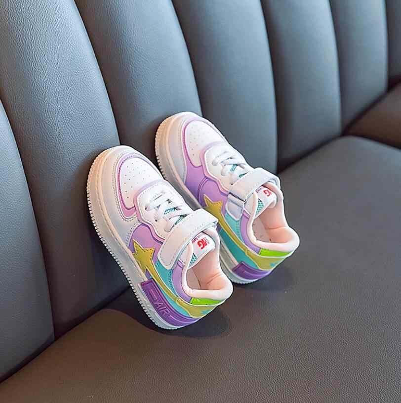 2020 ฤดูใบไม้ผลิเด็กชายหญิงแฟชั่นรองเท้าผ้าใบเด็ก/เด็กวัยหัดเดิน/เด็กเล็กหนังเด็กกีฬารองเท้านุ่มวิ่งรองเท้า