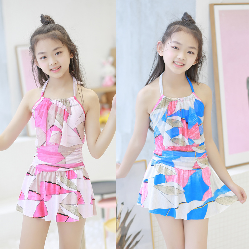 KID'S Swimwear Korean-style Girls Small Children Little Girl Cute Halter Dress-Swimwear Wholesale 8-12-Year-Old