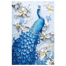 New Handicrafts Blue peacock 5D Diy Diamond Painting Cross Stitch Embroidery Mosaic European Home Decor