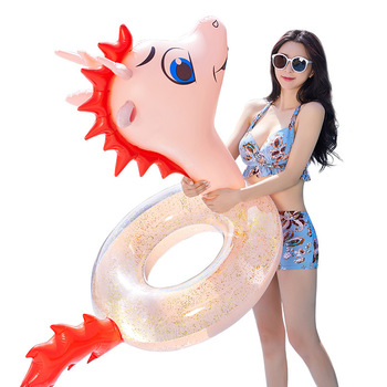 Inflatable Sequins Pool floats Chinese Zodiac Animal Dragon swimming Ring inflated Transparent adult swim circle dinosaur Toys 51mm 2 collection curio rare chinese fengshui small bronze exquisite animal 12 zodiac year dragon pendant statue statuary 31g